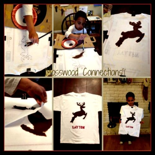 T-Shirt Stencils are an easy way to decorate t-shirts for any occasion. #mosswoodconnections #craftsforkids #t=shirtdecorating #holidays
