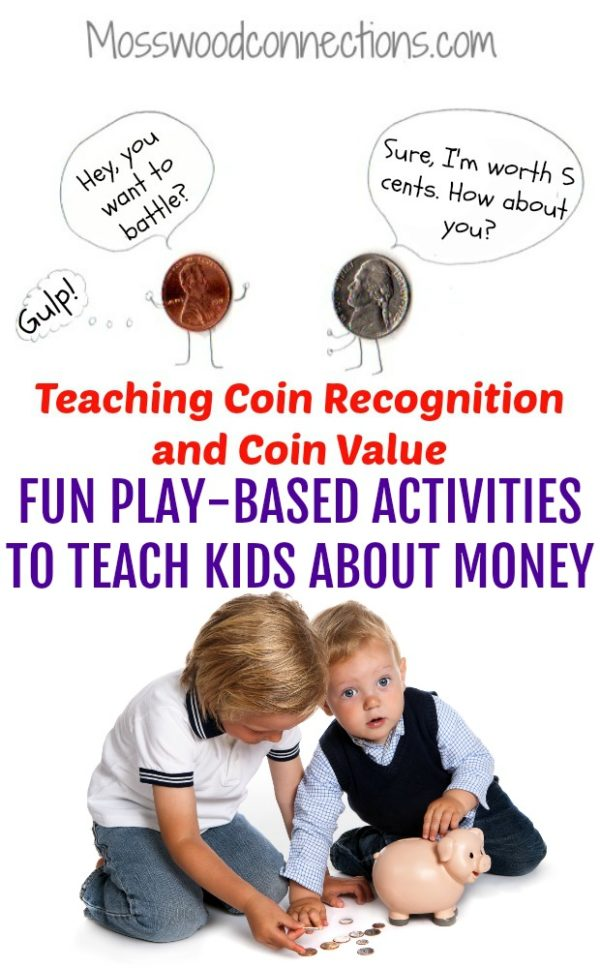 Active Hands-on Games for Teaching Coin Recognition and Coin Value #mosswoodconnections #money #coinrecognition #learningthroughplay #education #homeschool