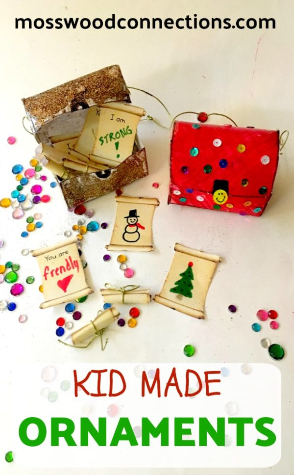 Treasuring Memories With a Kid-Made Treasure Box Ornament #mosswoodconnections #kid-madedcorations #ornaments #crafts #holidays