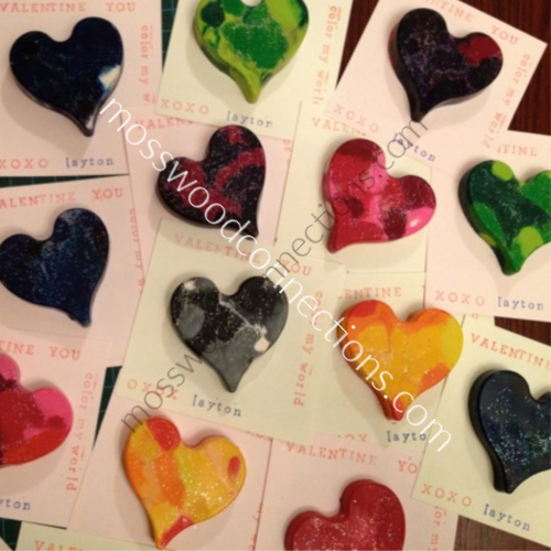 Rainbow Crayons #mosswoodconnections #Valentines #crafts #non-candyvalentine #holidays #DIYfidgettoy #sensory