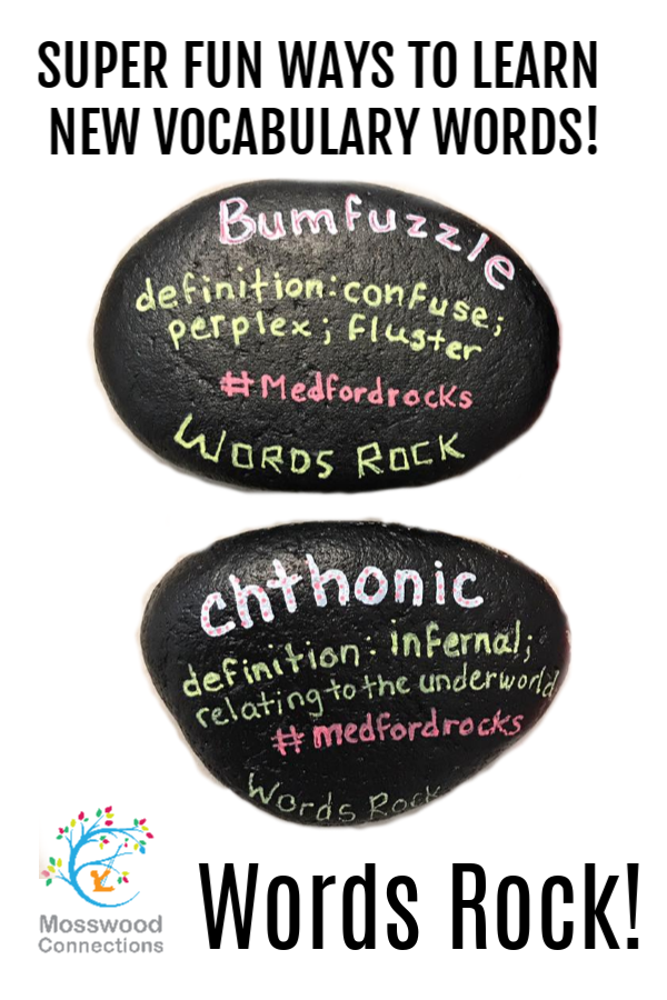 Vocabulary Rocks- Turn Rock Painting into a Vocabulary Game #mosswoodconnections #rockpainting #vocabulary #educational #artproject #wordsrock #homeschool