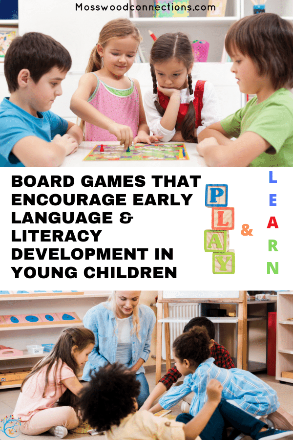 Board Games That Encourage Early Language & Literacy Development in Young Children #mosswoodconnections #education #litracy #boardgames #giftguides