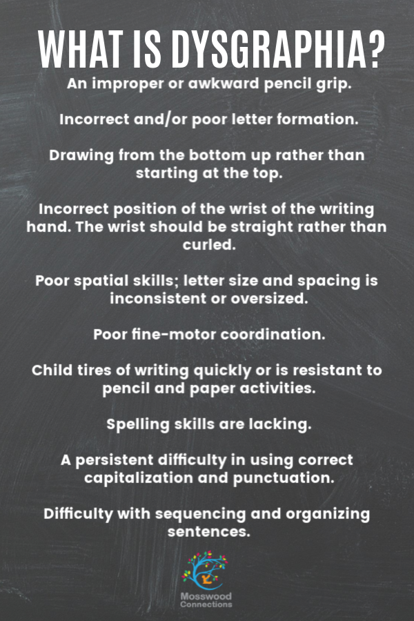 Dysgraphia Infographic_ Symptoms, Treatment, and Accommodations #mosswoodconnections #parenting #dysgraphia #handwriting #finemotor #learningdisability