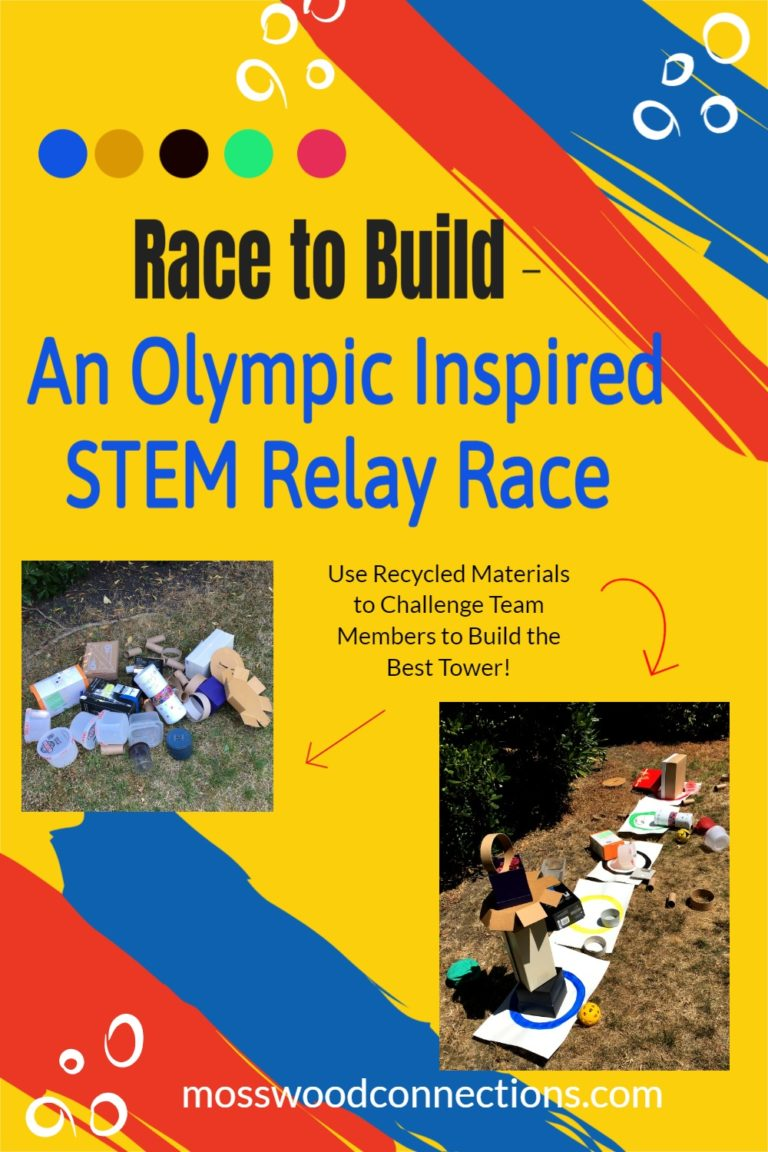 Race to Build: an Olympic Inspired STEM Relay Race #mosswoodconnections #grossmotor #STEM #Olympicactivity