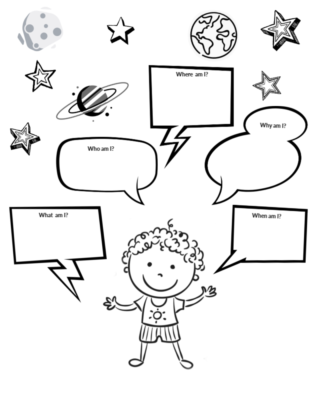 The Big Bang Questions! Book Inspired Activities  #mosswoodconnections #picturebooks #freeprintables #coloringpage #bookunit