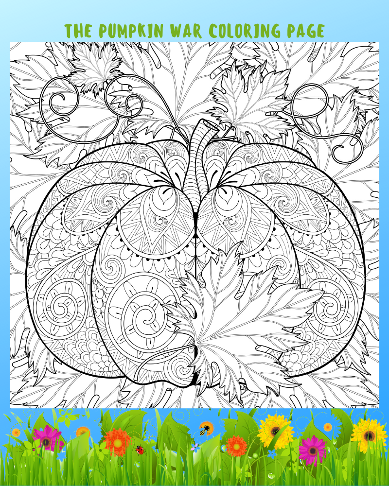 The Pumpkin War Coloring Page #mosswoodconnections #coloringpage #thepumpkinwar