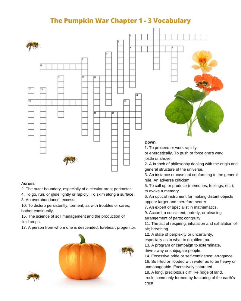 The Pumpkin War Crossword Puzzle #mosswoodconnections #coloringpage #thepumpkinwar