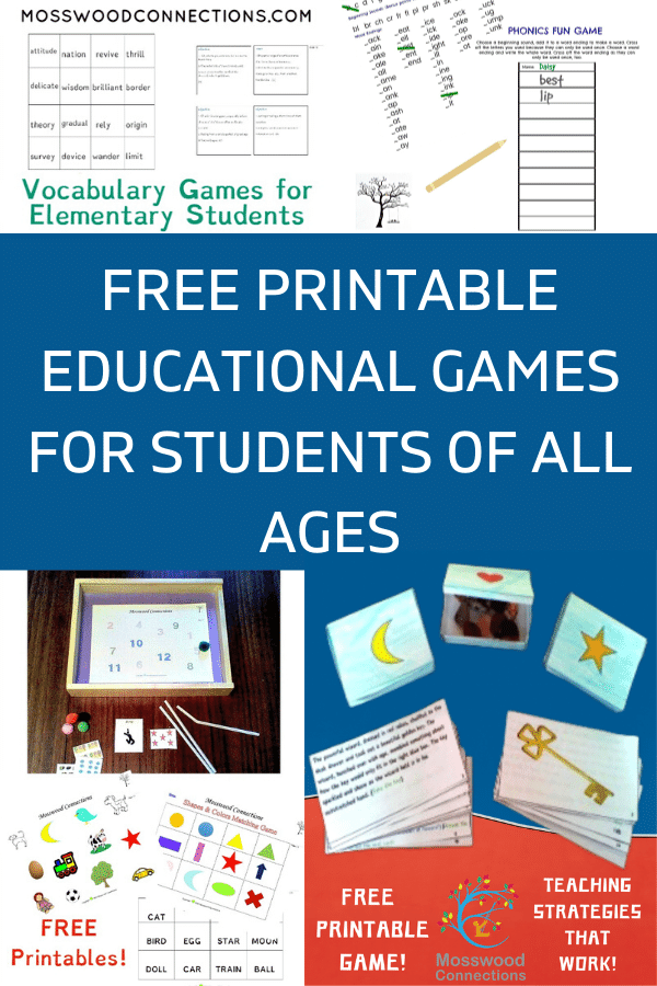 PRINTABLE EDUCATIONAL GAMES FOR STUDENTS OF ALL AGES #mosswoodconnections  #education #literacy #boardgame #freeprintablegame