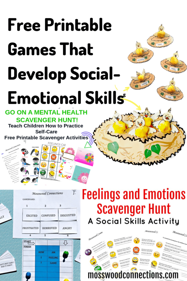 Games That Develop Social-Emotional Skills #mosswoodconnections  #education #literacy #boardgame #freeprintablegame #socialemotional